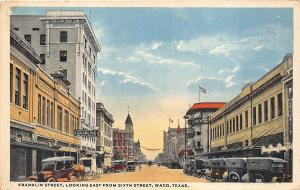 Waco TX Franklin Street Store Front's Old Cars in 1918 Postcard