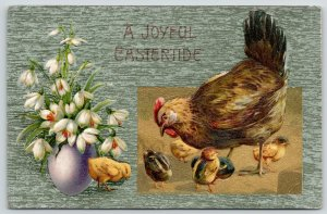 Easter~Hen Pecks About w/ Chicks~Snowdrop Lilies in Lavender Egg~Green~Winsch