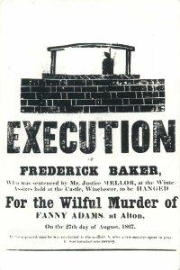 Post card Broadsheet Execution of murderer of Fanny Adams of Alton 1867