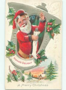 Pre-Linen Christmas SANTA CLAUS PUTS NECKLACE INTO STOCKING AB4967