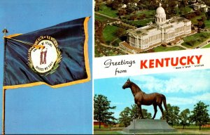 Kentucky Greetings From The Blue Grass State With State Capitol State Flag an...