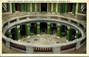 Rotunda État Capitol Madison Wisconsin Wi Unp 1920s Vtg Carte Postale Inutilisé