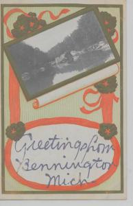Bennington Michigan Greetings From scenic view ribbon antique pc Z16547
