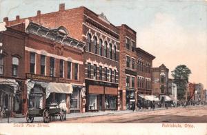 ASHTABULA OHIO SOUTH MAIN STREET~STOREFRONTS~DIRT ROAD POSTCARD 1900s