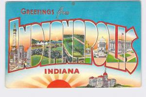 BIG LARGE LETTER VINTAGE POSTCARD GREETINGS FROM INDIANA INDIANAPOLIS #1