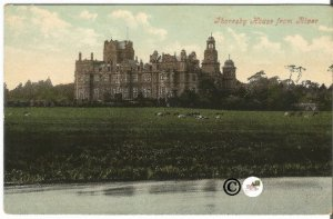 Undivided Back Postcard, Thoresby House from River Earl Manners The Dukeries