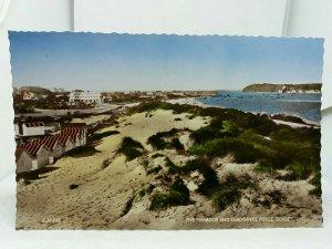 Vintage RP Postcard Beach Huts Nr The Harbour and Sandbanks Poole Dorset