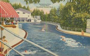 1940s Mackinac Island Michigan Swimming Pool Grand Hotel Teich linen 1714