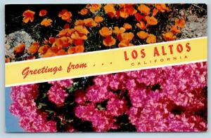 Postcard CA Banner Dual View Greetings From Los Altos Vintage O09