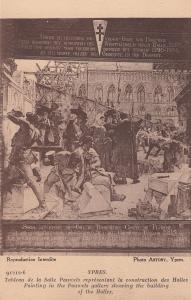 Ypres Building Of Halles Painting Military Dead Belgium Antique Postcard