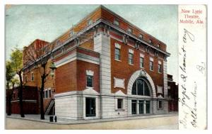 1910 New Lyric Theatre, Mobile, AL Postcard *4W