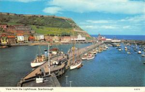 Vintage 1971 Postcard, Scarborough Harbour, View from the Lighthouse, Boats 6T