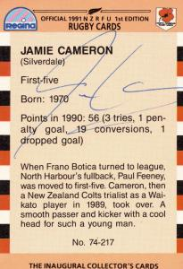 Jamie Cameron North Harbour 1991 Hand Signed Rugby Card Photo
