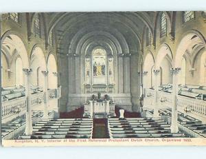Divided-Back CHURCH SCENE Kingston New York NY L6216