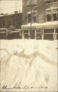Glens Falls NY Winter Storm Scene P. ANRY TAILOR Sign 1914 Real Photo Postcard