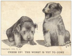One Single Standard Postcard Cute Puppies Handmade Vintage Postcard Reproduction