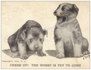 One Single Standard Postcard Cute Puppies Handmade Vintage Postcard Reproduction