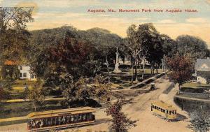 Augusta Maine~Civil War Monument Park~Trolley Traffic~Open Air~1913 Postcard