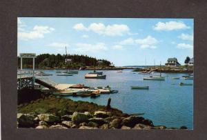 ME Southport Yacht Club Landing Harbor Boats Maine Postcard PC
