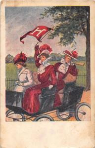 <A15> COLLEGE GIRL Pennant Automobile c1910 HARVARD University Women 5