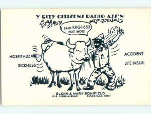Cattle Cow - Qsl Cb Ham Radio Card Zanesville Ohio OH t8899