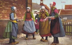 Netherlands Marken Young Girls Playing Jup Rope