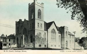 Carthage IL~United Methodist Episcopal Church~Neighbor~Bluesky Photoette c1912