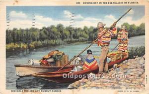 LINEN ERA (1930-1945) Seminole Indians, Florida USA Postcard Everglades