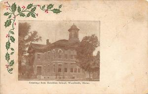 Portland ME Christmas Greetings Haseltine School in Woodfords Postcard