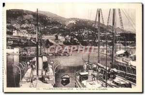 Old Postcard Villefranche Sur Mer Port and overlooking the Corniche Boat