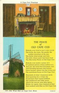 Cape Cod Fireplace and Windmill, Peace of Old Cape Cod Poem MA Linen Postcard