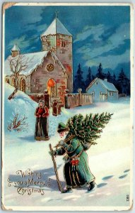 Vintage Christmas Postcard SANTA CLAUS in BLUE SUIT, Carrying Xmas Tree in Snow