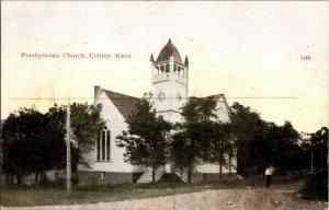 Presbyterian Church Colony Kans. Kansas Vintage Postcard Standard View Card