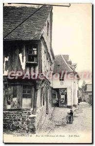 Postcard Old Honfleur street Human Wood