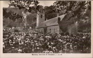 Braddam IOM Isle of Man Sunday Service c1910 Real Photo Postcard