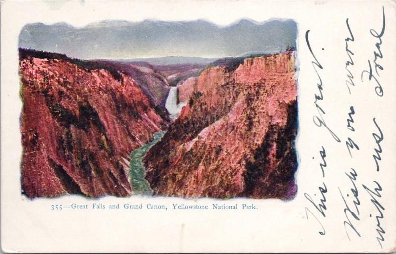 Great Falls and Grand Canon Yellowstone National Park WY 355 Postcard E35