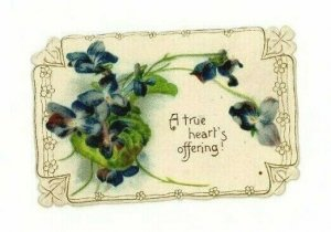 1880s-90s Victorian Die-Cut Valentine's Card Violets P216