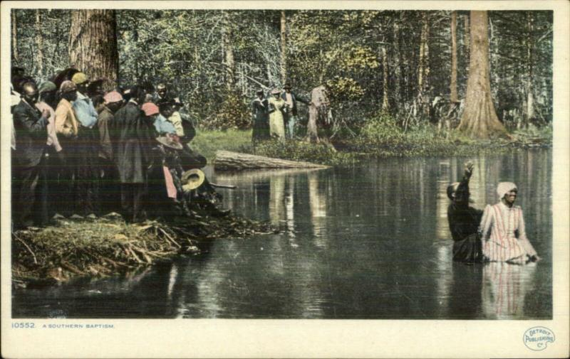 Black Americana Southern Baptism in River c1910 Detroit Publishing Postcard