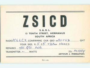 1967 vintage QSL CB HAM RADIO CARD Hermanus SOUTH AFRICA s0371