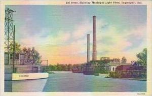 Indiana Logansport Eel River Showing Municipal Light Plant Curteich
