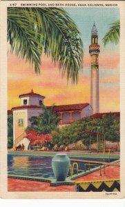 P1959 vintage postcard swimming pool & bath house agua caliente mexico unused