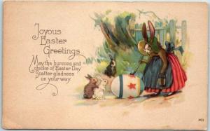 Vintage Easter Postcard Joyous Greetings Dressed Rabbit Painting Giant Egg