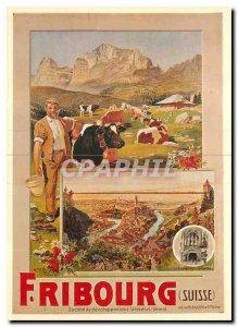 Modern Postcard Friborg Switzerland A Reckziegel Cows