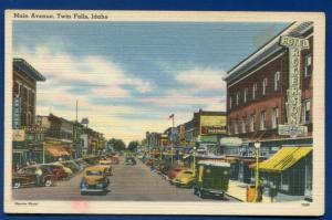 Twin Falls Idaho id Main Street 1940s linen postcard