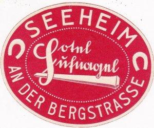 Germany Seeheim Hotel An Der Bergstrasse Vintage Luggage Label sk3131