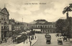brazil, RIO DE JANEIRO, Largo do Machado, Casa do Barbosa, Tram (1910s)