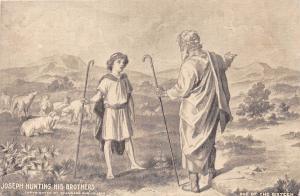 JOSEPH HUNTING HIS BROTHERS RELIGIOUS ART POSTCARD c1910s