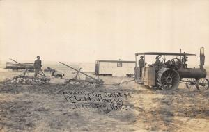 JETMORE, KANSAS STEAM PLOW, OUTFIT OF H. L. MAYBERRY RPPC REAL PHOTO POSTCARD