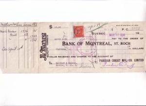 Custom Cheque, La Marva Quality Corsets  Montreal, Canada Three Cent Stamp 1934