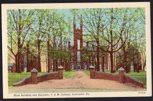 Pennsylvania ~ Main Building and Entrance F. & M. College LANCASTER White Border